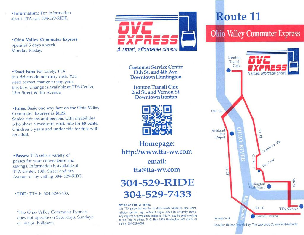Route 11 - Burlington Walmart, Ironton Transit Cafe, Ashland Depot, Ceredo Plaza