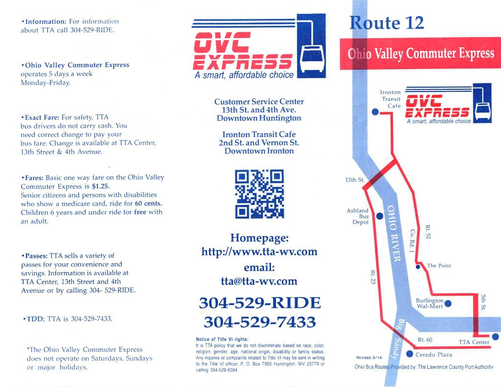 Route 12 - Ceredo Plaza, Ashland Bus Depot, Ironton Transit Cafe, Burlington Walmart