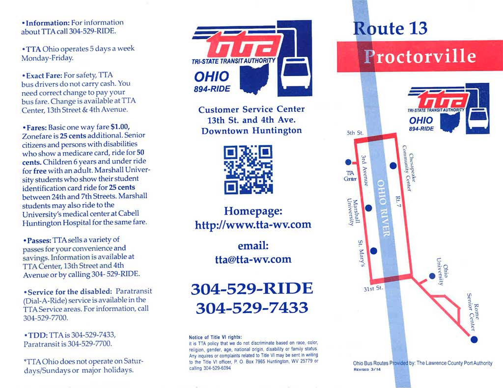 Route 13 – Pullman Square, Chesapeake Community Center, Ohio University, Rome, St. Mary's Hospital, Marshall University