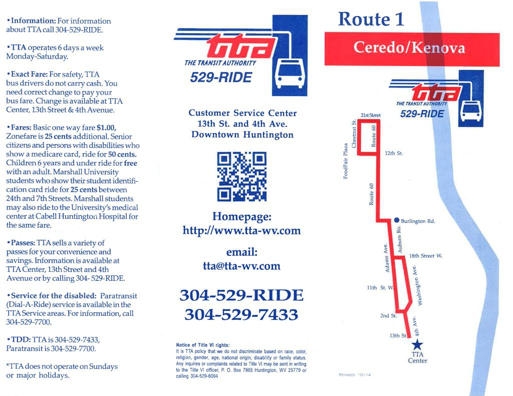 TTA Route 1 - Ceredo/Kenova/West Huntington/Adams Avenue