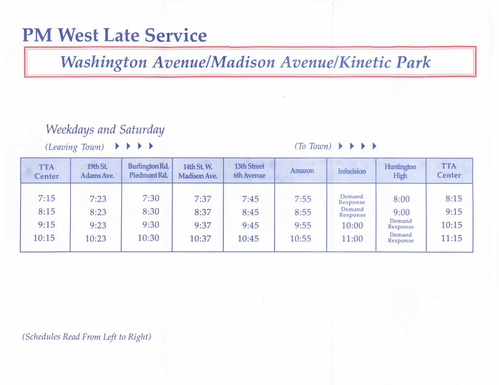 Route 40 - PM West/Late Service